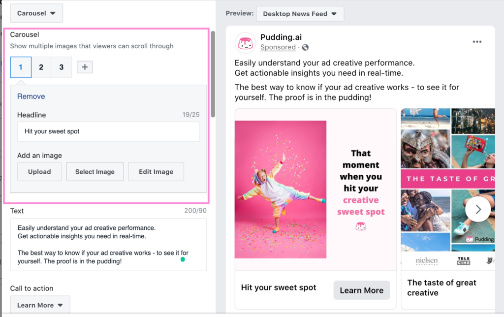 Pudding.ai example of carousel ad setup on Facebook ads manager