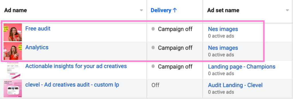 fb ad set naming by concept
